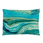 Mint,gold,marble,nature,stone,pattern,modern,chic,elegant,beautiful,trendy Pillow Case (Two Sides) Back