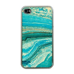 Mint,gold,marble,nature,stone,pattern,modern,chic,elegant,beautiful,trendy Apple Iphone 4 Case (clear)