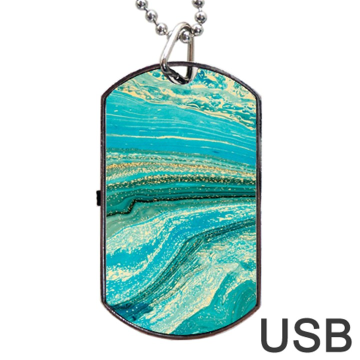 Mint,gold,marble,nature,stone,pattern,modern,chic,elegant,beautiful,trendy Dog Tag USB Flash (One Side)