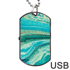 Mint,gold,marble,nature,stone,pattern,modern,chic,elegant,beautiful,trendy Dog Tag Usb Flash (two Sides)