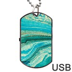 Mint,gold,marble,nature,stone,pattern,modern,chic,elegant,beautiful,trendy Dog Tag USB Flash (Two Sides) Front