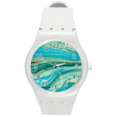 Mint,gold,marble,nature,stone,pattern,modern,chic,elegant,beautiful,trendy Round Plastic Sport Watch (m)