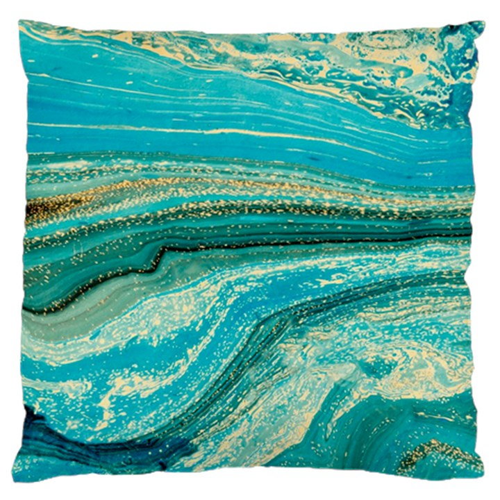Mint,gold,marble,nature,stone,pattern,modern,chic,elegant,beautiful,trendy Large Cushion Case (Two Sides)