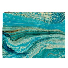 Mint,gold,marble,nature,stone,pattern,modern,chic,elegant,beautiful,trendy Cosmetic Bag (xxl)
