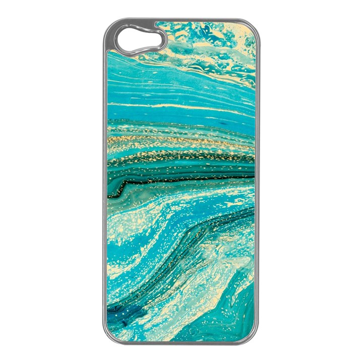 Mint,gold,marble,nature,stone,pattern,modern,chic,elegant,beautiful,trendy Apple iPhone 5 Case (Silver)