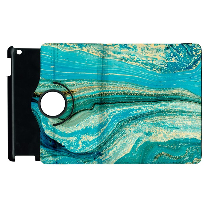 Mint,gold,marble,nature,stone,pattern,modern,chic,elegant,beautiful,trendy Apple iPad 3/4 Flip 360 Case