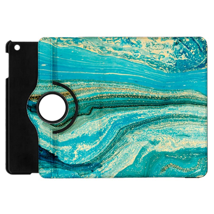 Mint,gold,marble,nature,stone,pattern,modern,chic,elegant,beautiful,trendy Apple iPad Mini Flip 360 Case