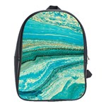 Mint,gold,marble,nature,stone,pattern,modern,chic,elegant,beautiful,trendy School Bag (XL) Front