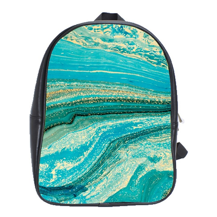 Mint,gold,marble,nature,stone,pattern,modern,chic,elegant,beautiful,trendy School Bag (XL)