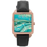 Mint,gold,marble,nature,stone,pattern,modern,chic,elegant,beautiful,trendy Rose Gold Leather Watch  Front