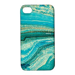 Mint,gold,marble,nature,stone,pattern,modern,chic,elegant,beautiful,trendy Apple Iphone 4/4s Hardshell Case With Stand