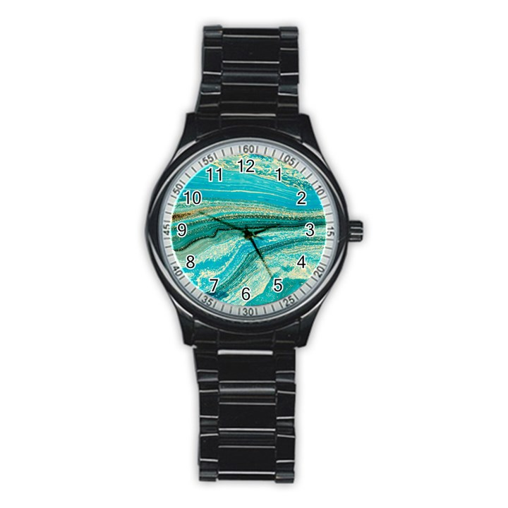 Mint,gold,marble,nature,stone,pattern,modern,chic,elegant,beautiful,trendy Stainless Steel Round Watch