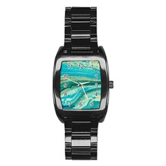 Mint,gold,marble,nature,stone,pattern,modern,chic,elegant,beautiful,trendy Stainless Steel Barrel Watch