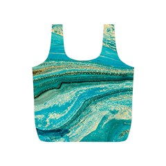 Mint,gold,marble,nature,stone,pattern,modern,chic,elegant,beautiful,trendy Full Print Recycle Bags (s)