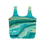 Mint,gold,marble,nature,stone,pattern,modern,chic,elegant,beautiful,trendy Full Print Recycle Bags (S)  Back