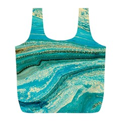 Mint,gold,marble,nature,stone,pattern,modern,chic,elegant,beautiful,trendy Full Print Recycle Bags (l)