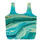 Mint,gold,marble,nature,stone,pattern,modern,chic,elegant,beautiful,trendy Full Print Recycle Bags (L)  Front
