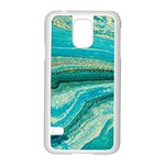 Mint,gold,marble,nature,stone,pattern,modern,chic,elegant,beautiful,trendy Samsung Galaxy S5 Case (White) Front