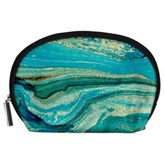Mint,gold,marble,nature,stone,pattern,modern,chic,elegant,beautiful,trendy Accessory Pouches (large)
