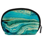 Mint,gold,marble,nature,stone,pattern,modern,chic,elegant,beautiful,trendy Accessory Pouches (Large)  Back