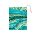 Mint,gold,marble,nature,stone,pattern,modern,chic,elegant,beautiful,trendy Drawstring Pouches (Medium)  Front