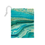 Mint,gold,marble,nature,stone,pattern,modern,chic,elegant,beautiful,trendy Drawstring Pouches (Medium)  Back