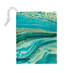 Mint,gold,marble,nature,stone,pattern,modern,chic,elegant,beautiful,trendy Drawstring Pouches (Large)  Back