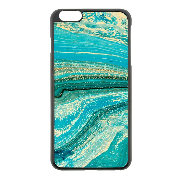 Mint,gold,marble,nature,stone,pattern,modern,chic,elegant,beautiful,trendy Apple iPhone 6 Plus/6S Plus Black Enamel Case