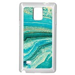 Mint,gold,marble,nature,stone,pattern,modern,chic,elegant,beautiful,trendy Samsung Galaxy Note 4 Case (White) Front