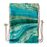 Mint,gold,marble,nature,stone,pattern,modern,chic,elegant,beautiful,trendy Drawstring Bag (Large) Front