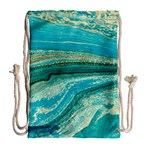 Mint,gold,marble,nature,stone,pattern,modern,chic,elegant,beautiful,trendy Drawstring Bag (Large) Back