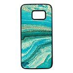 Mint,gold,marble,nature,stone,pattern,modern,chic,elegant,beautiful,trendy Samsung Galaxy S7 Black Seamless Case Front