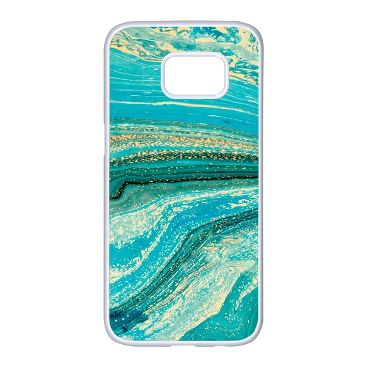 Mint,gold,marble,nature,stone,pattern,modern,chic,elegant,beautiful,trendy Samsung Galaxy S7 edge White Seamless Case