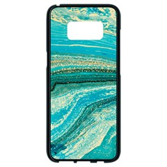 Mint,gold,marble,nature,stone,pattern,modern,chic,elegant,beautiful,trendy Samsung Galaxy S8 Black Seamless Case