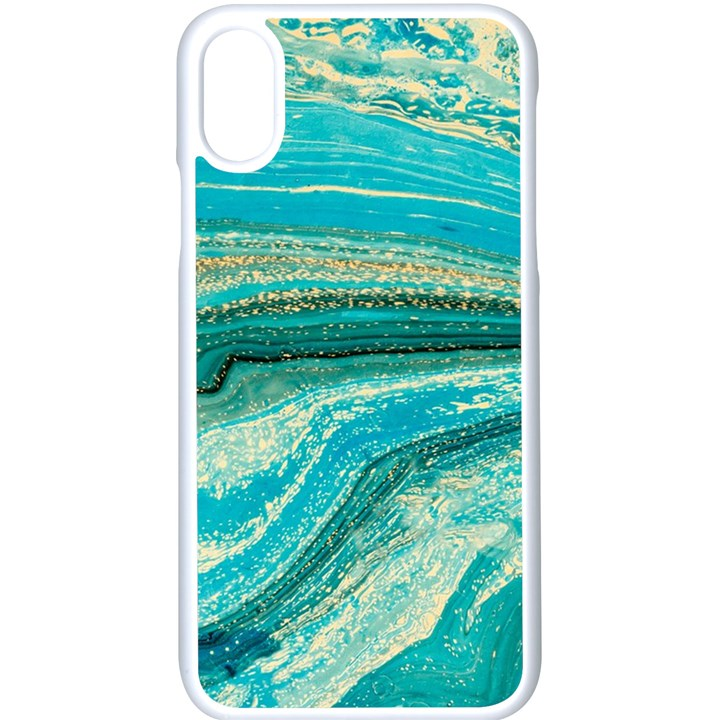 Mint,gold,marble,nature,stone,pattern,modern,chic,elegant,beautiful,trendy Apple iPhone X Seamless Case (White)