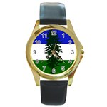 Flag of Cascadia Round Gold Metal Watch Front