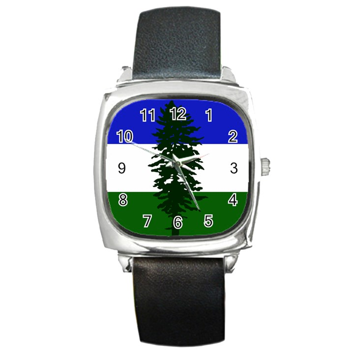 Flag of Cascadia Square Metal Watch