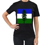 Flag of Cascadia Women s T-Shirt (Black) (Two Sided) Front