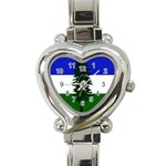 Flag of Cascadia Heart Italian Charm Watch Front