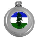 Flag of Cascadia Round Hip Flask (5 oz) Front