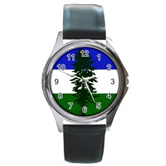 Flag Of Cascadia Round Metal Watch