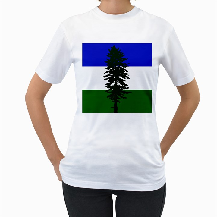 Flag of Cascadia Women s T-Shirt (White) (Two Sided)