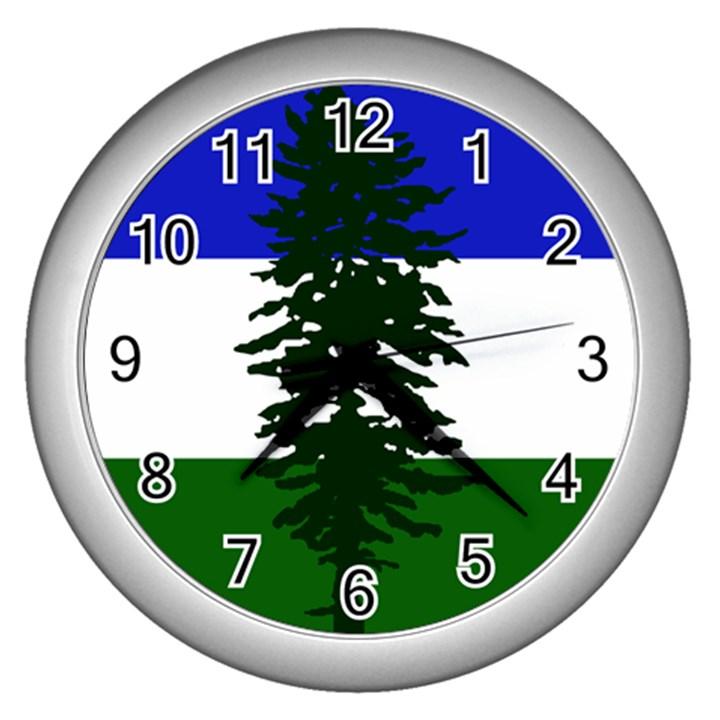 Flag of Cascadia Wall Clocks (Silver)