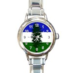 Flag of Cascadia Round Italian Charm Watch Front