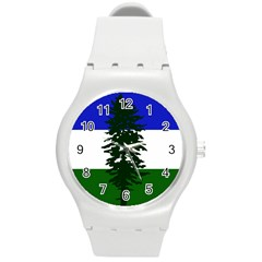 Flag Of Cascadia Round Plastic Sport Watch (m)