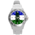 Flag of Cascadia Round Plastic Sport Watch (L) Front