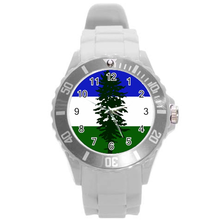 Flag of Cascadia Round Plastic Sport Watch (L)