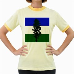 Flag 0f Cascadia Women s Fitted Ringer T Shirts