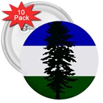Flag 0f Cascadia 3  Buttons (10 pack)  Front