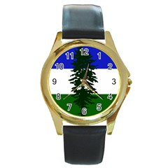 Flag 0f Cascadia Round Gold Metal Watch